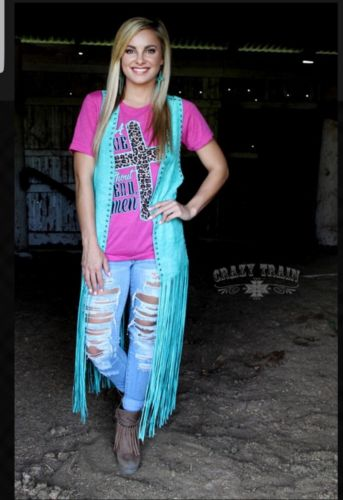 Crazy Train Texarkana Turquoise Studded Duster ONE SIZE