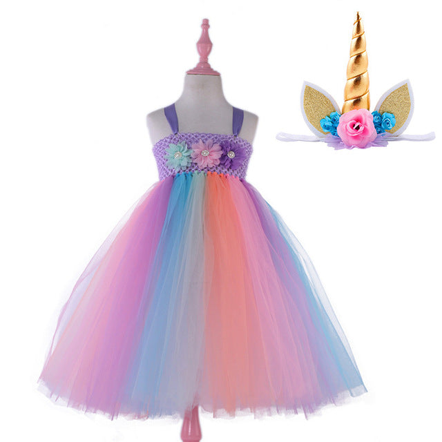 The Unicorn Rainbow Dress & Headband 2 Pc Set