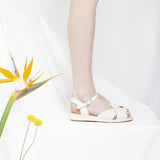 Brigitte White Low Wedge Sandal