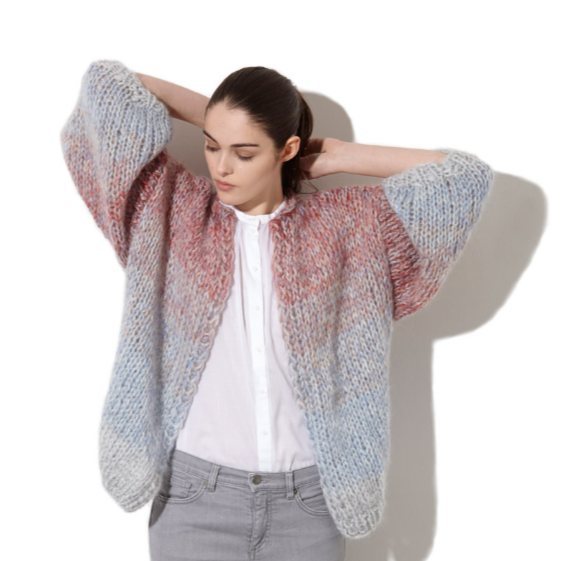 multicolored cardigan