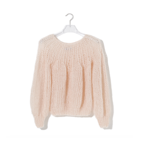 pleated sweater in nude