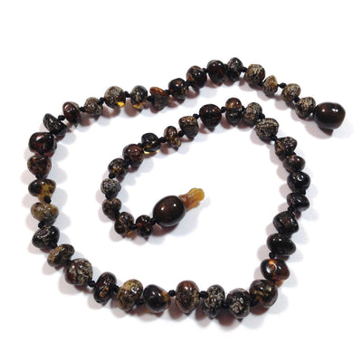Baltic Amber Dark Green Teething Necklace with a Pop Clasp