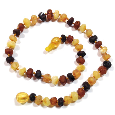 Children's Baltic Amber Multicolored Semi-Polish Necklace with Pop Clasp