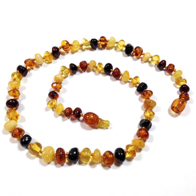 Baltic Amber Multicolor Round Teething Necklace with a Pop Clasp