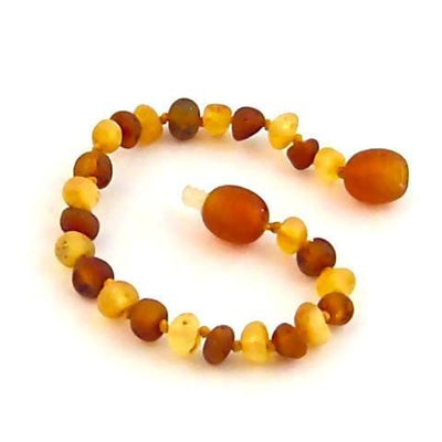 Children's Baltic Amber Nutmeg & Lemondrop Anklet with Twist Clasp
