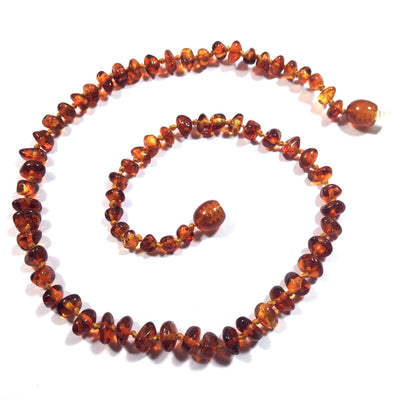 Baltic Amber Cognac Teething Necklace with a Twist Clasp