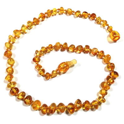 Children's Baltic Amber Honey Teething Necklace with Pop Clasp