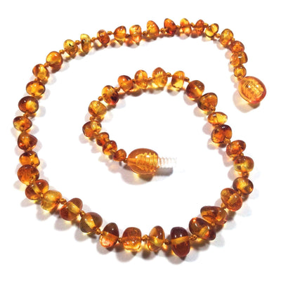 Children's Baltic Amber Honey Teething Necklace with Twist Clasp