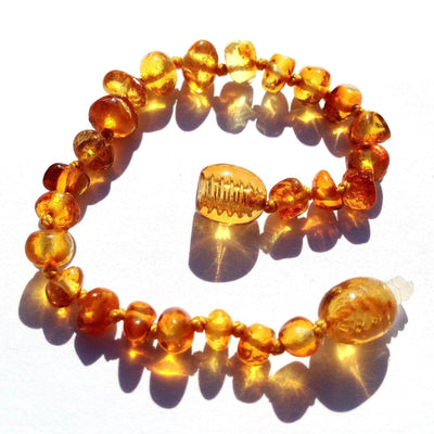 Children's Baltic Amber Honey Teething Anklet with Twist Clasp