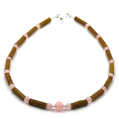 Hazelwood & Rose Quartz Gemstone Necklace