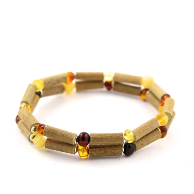 Hazelwood & Baltic Amber Multicolored Double Bracelet