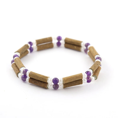 Hazelwood Amethyst & White Quartz Gemstone Double Bracelet