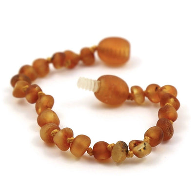 Children's Baltic Amber Caramel Anklet with Twist Clasp