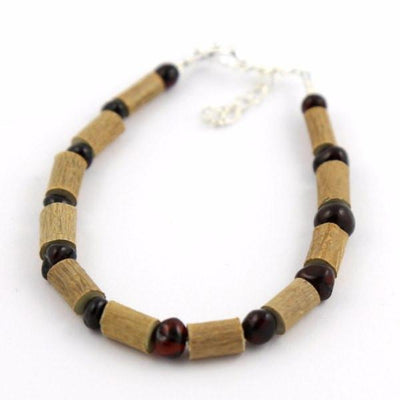 Children's Hazelwood & Dark Baltic Amber Anklet