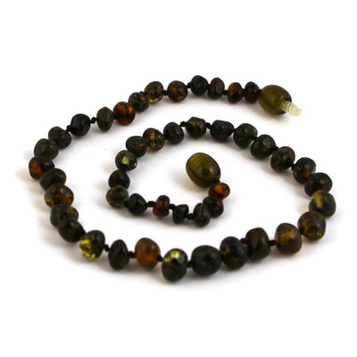Baltic Amber Dark Green Teething Necklace with a Twist Clasp