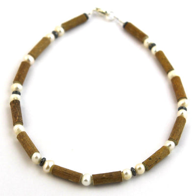 Hazelwood & Freshwater Pearl Gemstone Necklace
