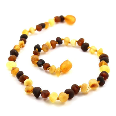 Children's Baltic Amber Multicolored Semi-Polish Necklace with Twist Clasp