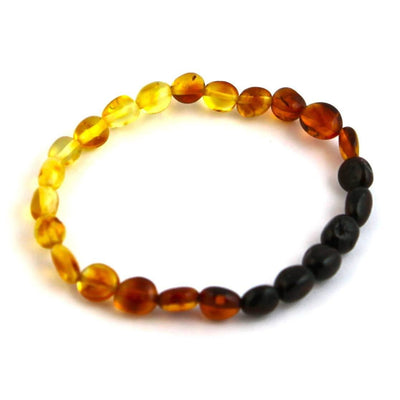 Baltic Amber Rainbow Bean Bracelet