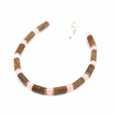 Hazelwood & Rose Quartz Gemstone Anklet
