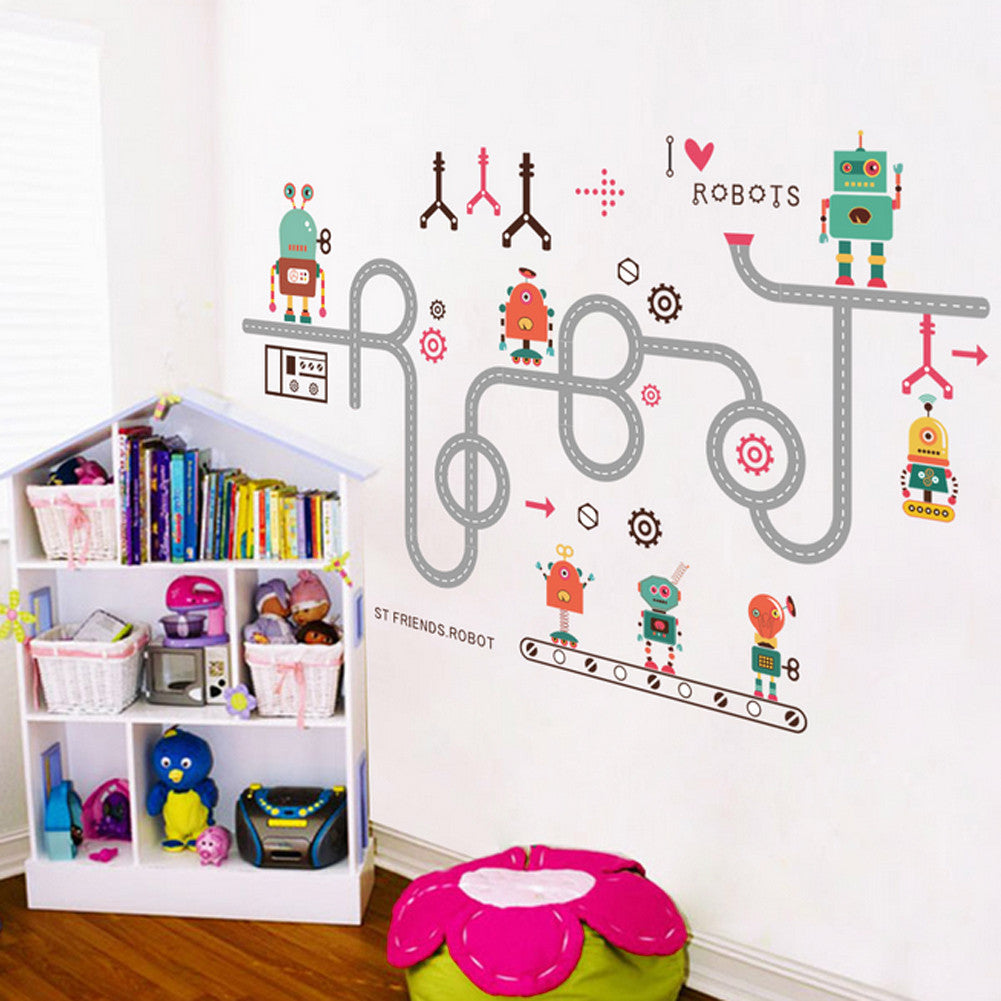 Diy cartoon robot wall stickers for kids baby nursery bedroom diy cartoon robot wall stickers for kids baby nursery bedroom removable decal poster home decoration wallpaper amipublicfo Gallery