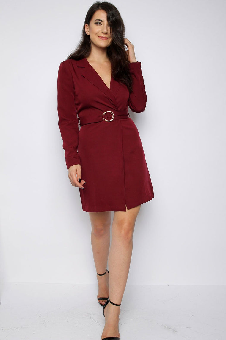 Wine Tailored Tuxedo Blazer Dress