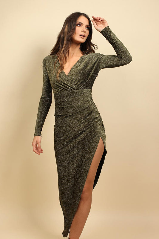 Long Sleeves Wrap Christmas Party Dress In Gold