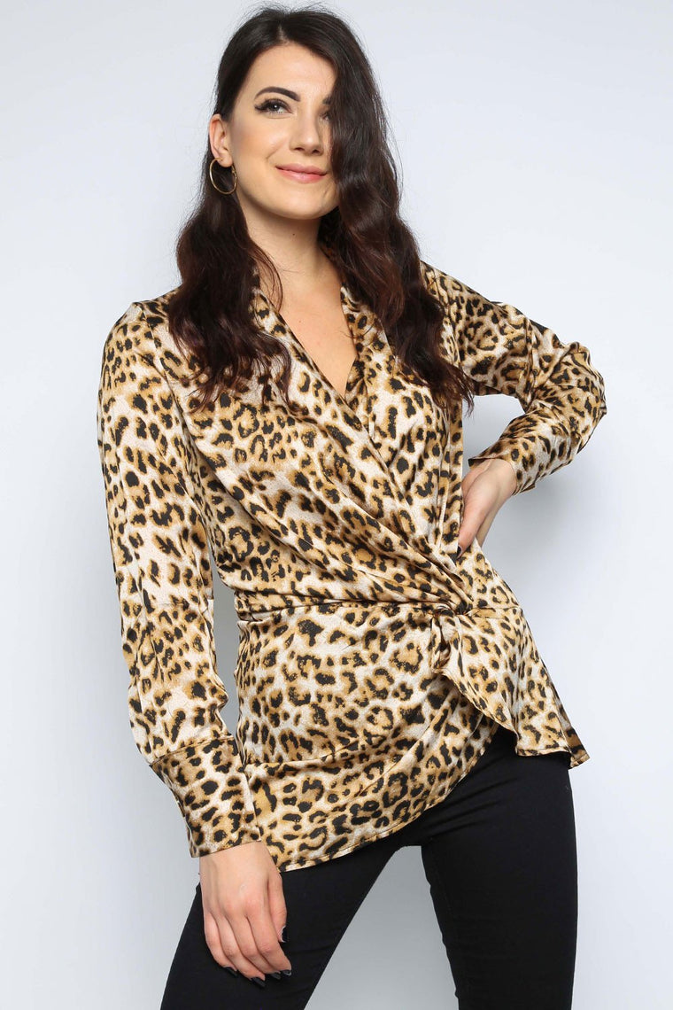 Leopard Front Twist Top