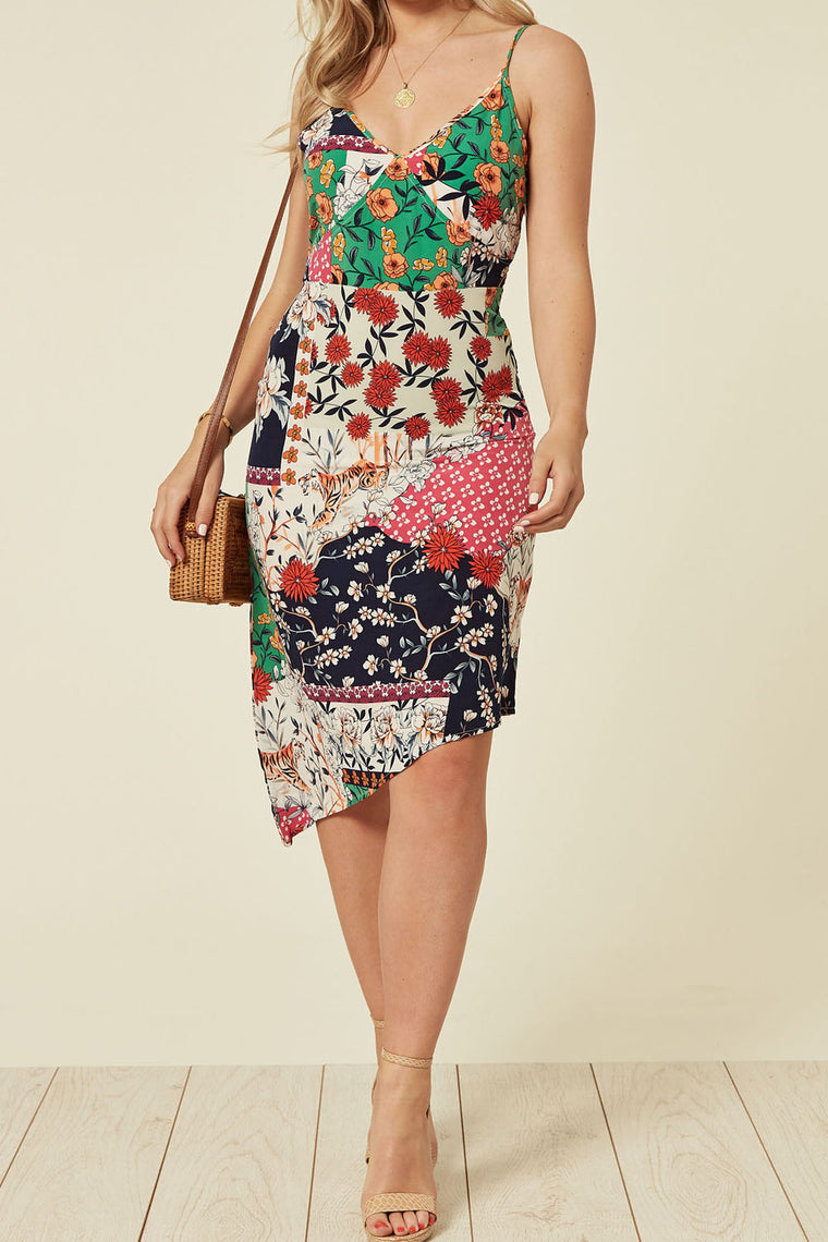 Asymmetric Midi Dress In A Mix Print