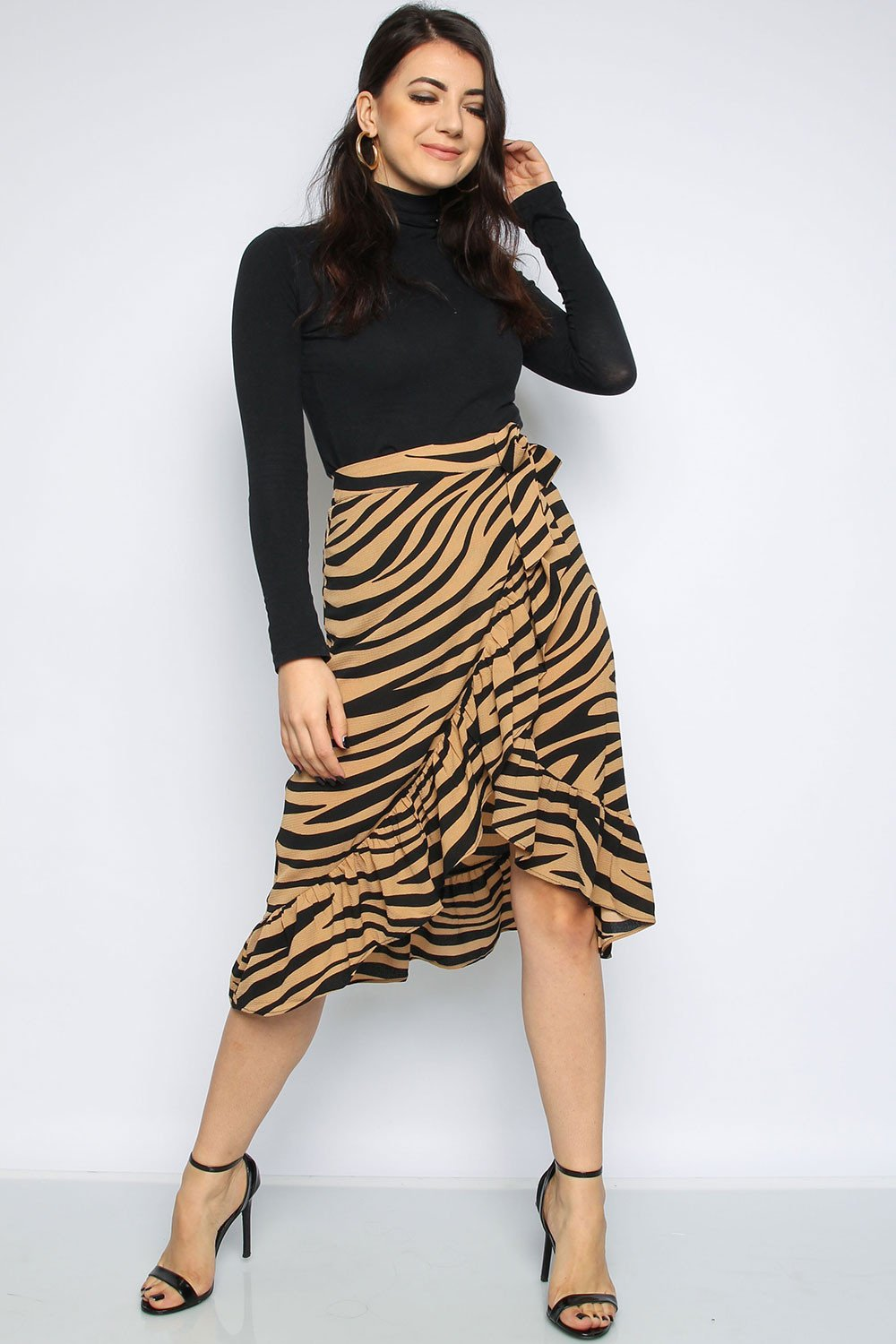 super specials look for top-rated professional Zebra Wrap Frill Midi Skirt
