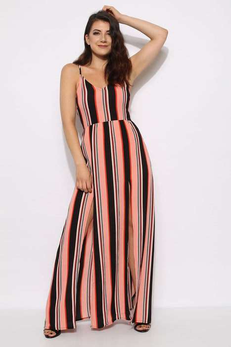 Coral Stripe Cami Split Maxi Dress