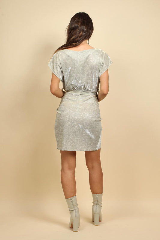 Sparkly Mini Wrap Dress in Stone