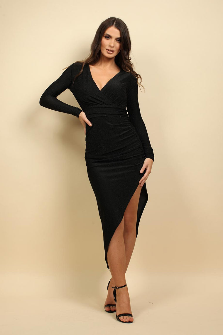 Long Sleeves Wrap Christmas Party Dress In Black