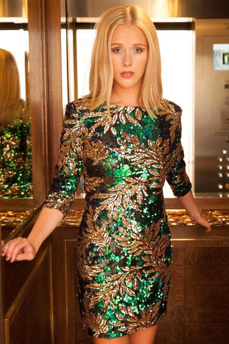 Leaf Sequin Green Bodycon Dress