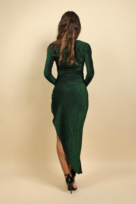 Long Sleeves Wrap Christmas Party Dress In Green