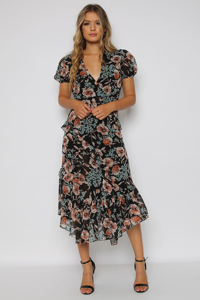 Black Floral Asymmetric Frill Midi Dress
