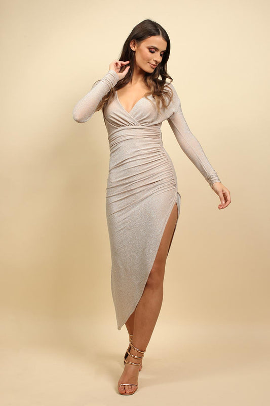 Long Sleeves Wrap Christmas Party Dress In Stone