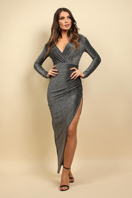 Silver Sparkly Wrap Maxi Dress In Silver