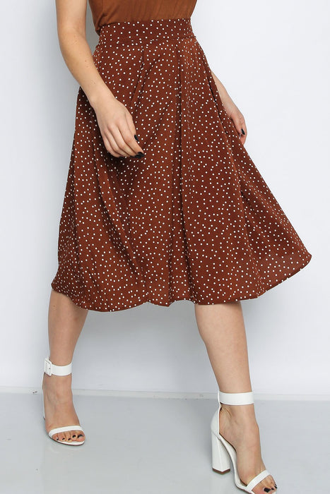 Brown Polka Dot Box Pleat Midi Skater Skirt