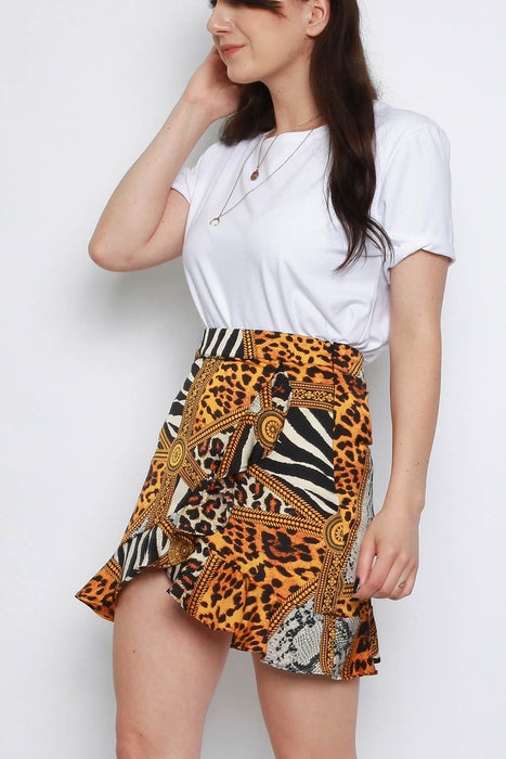 Yellow Satin Animal Print Frill Wrap Mini Skirt