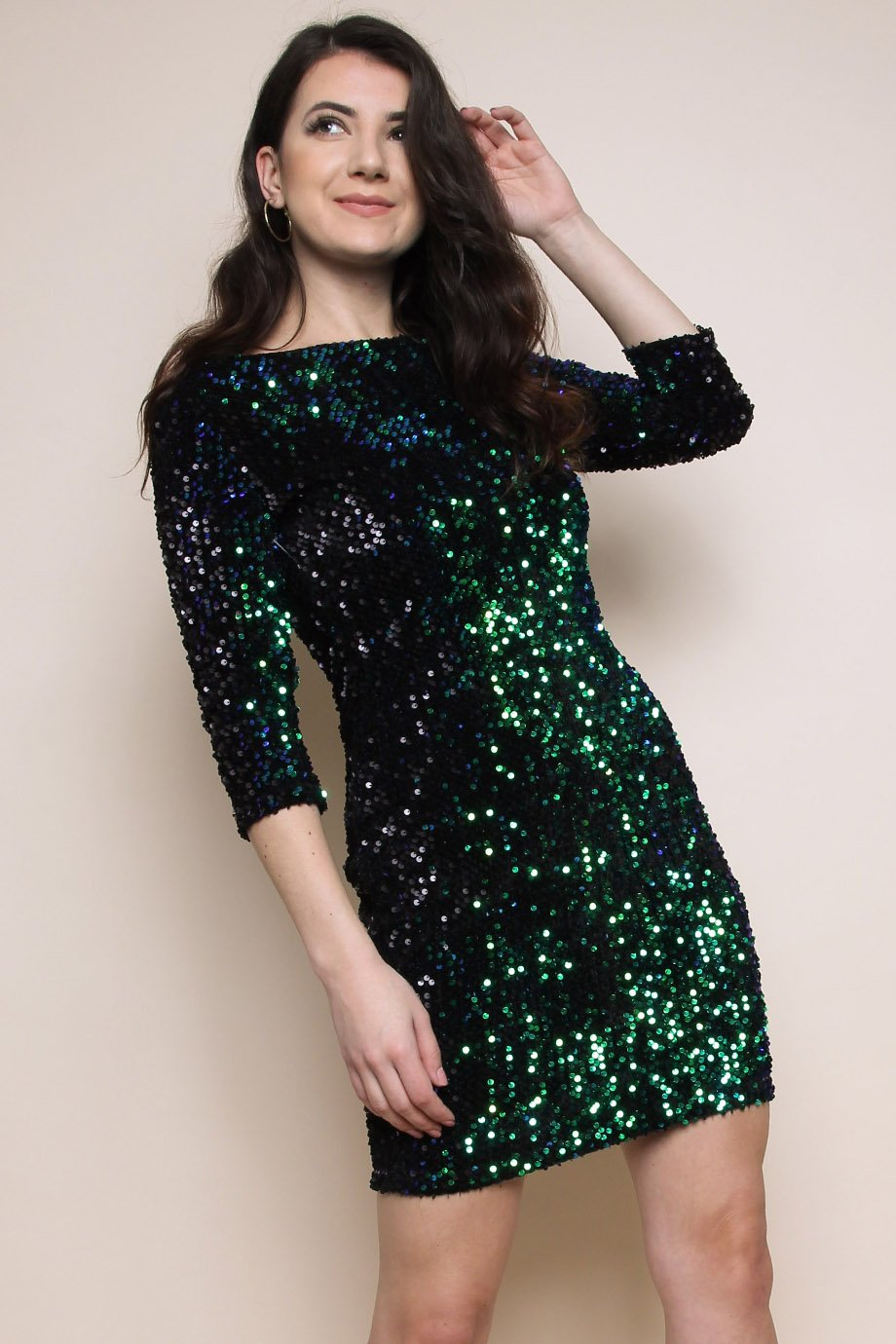 Green Velvet Sequin Bodycon Dress