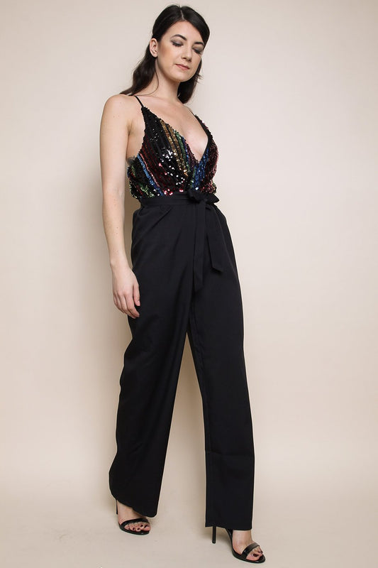 Black Sequin Stripe Wrap Jumpsuit