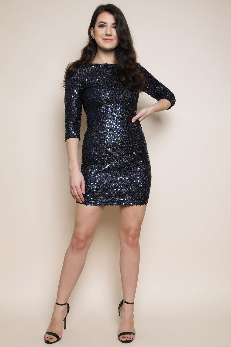 Navy Blue Sequin Knitted Metallic Bodycon Dress