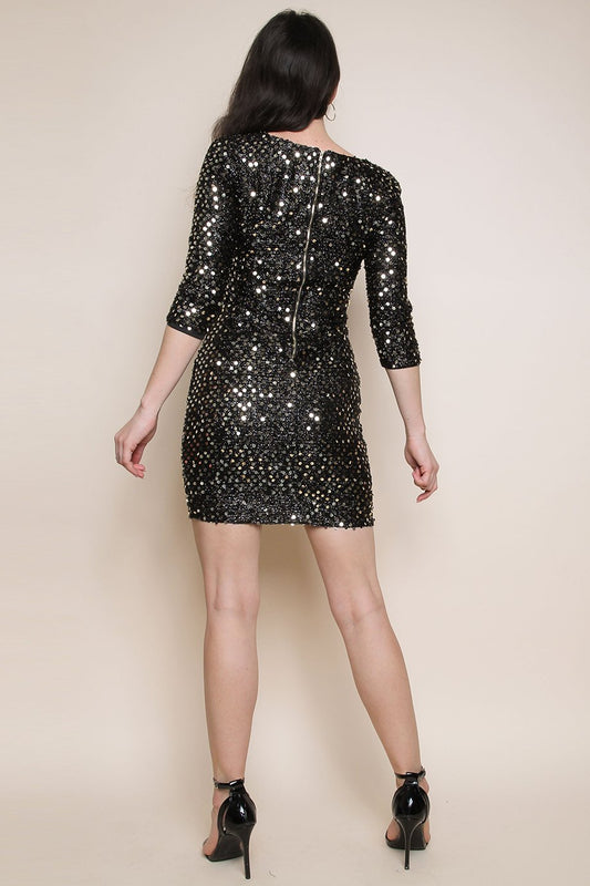 Black Gold Sequin Knitted Metallic Bodycon Dress