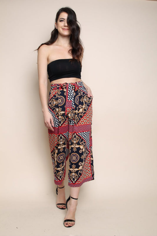 Red Scarf Print Culotte Pants