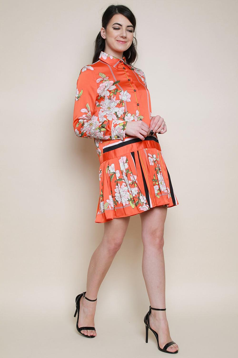 Floral Scarf Print Long Sleeved Shirt Dress
