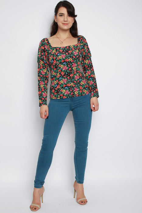 Square Neck Floral Long Sleeve Top