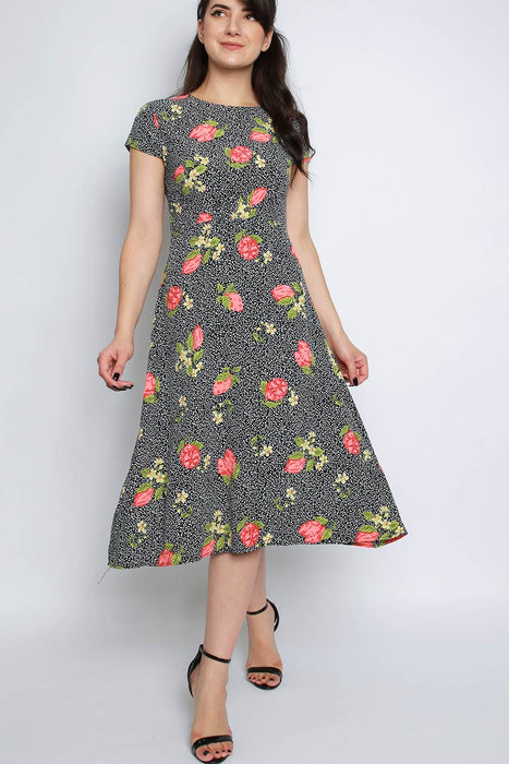 Floral Cap Sleeve Midi Skater Dress