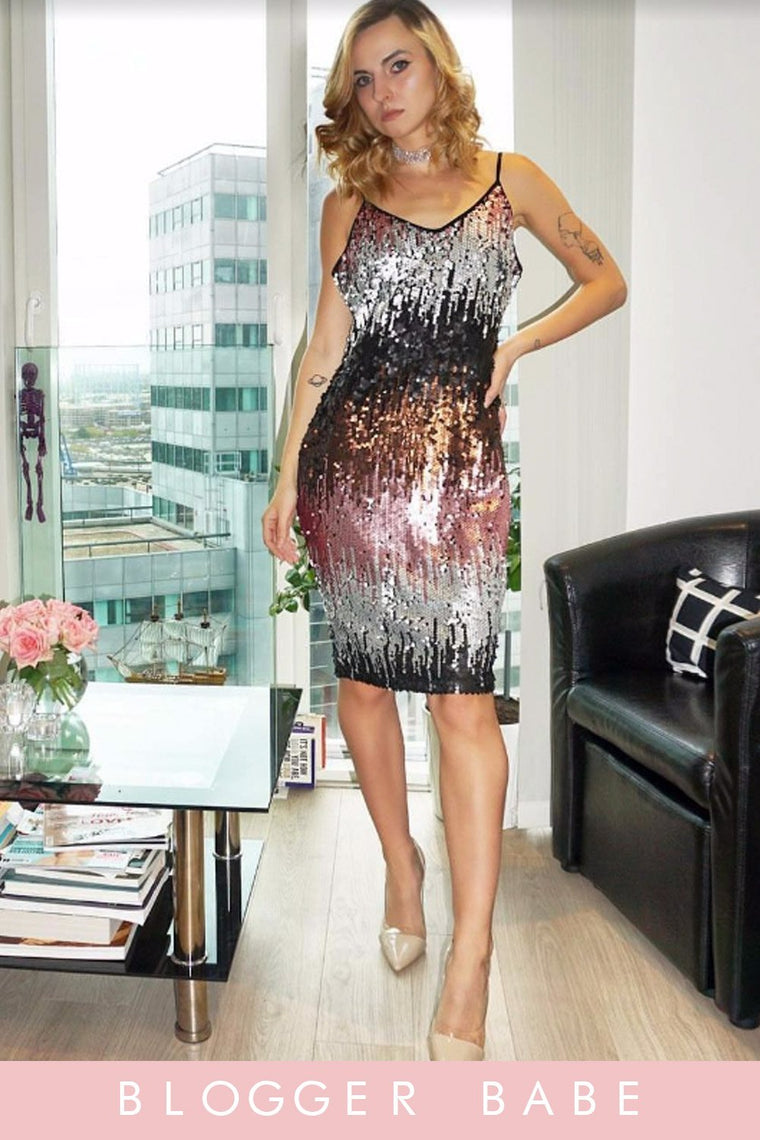 Ombre Sequin Midi Dress