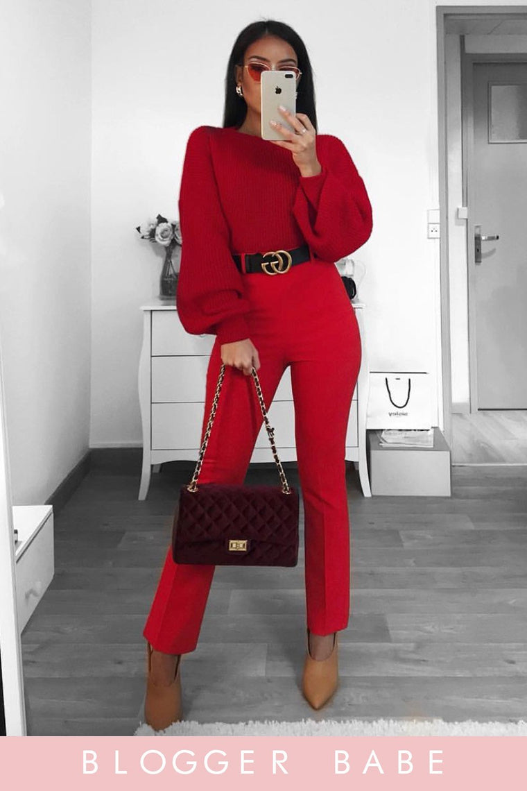 Red Baloon Sleeve Knitted Jumper
