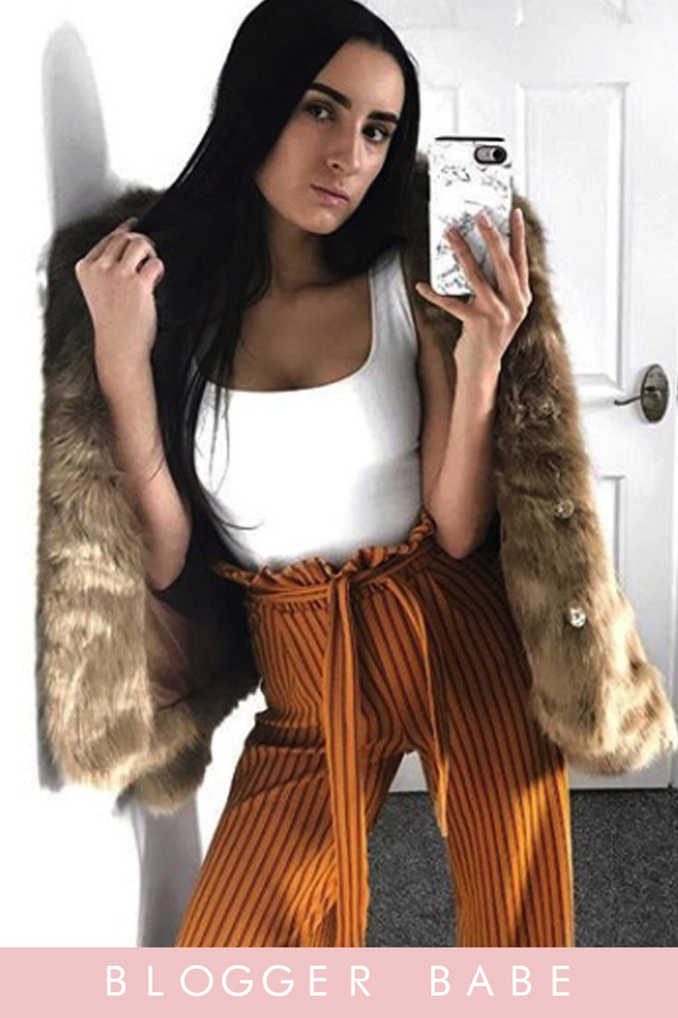 Stripe Paperbag Wide Leg Mustard Trousers
